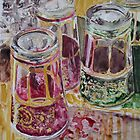 Tea glasses, watercolor on yupo paper by Sandrine Pelissier