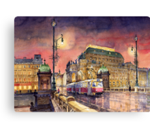 Prague  Night Tram National Theatre Canvas Print