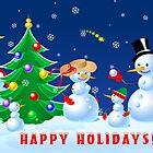 Snowmen Dancing by lydiasart