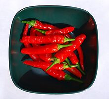 Bowl of Red Chillis in Sunlight   by jojobob