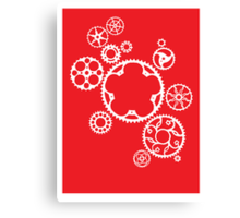Meshing Gears (red) Canvas Print