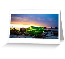one green bottle laying on the beach Greeting Card