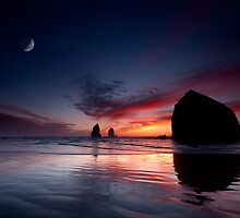 Moonset at Cannon Beach by van Kampen Photography