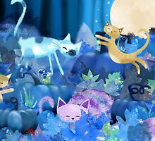 Moonlit - cats and kittens at play. by Hannah Chapman