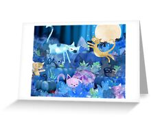 Moonlit - cats and kittens at play. Greeting Card