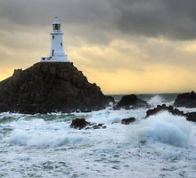 Corbiere Lighthouse Storm by Mark Bowden