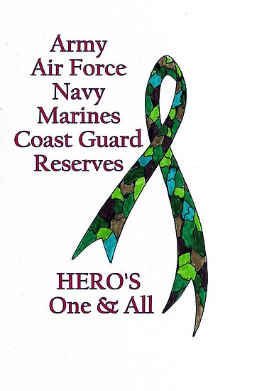 Support Our Heros ~ Green Camouflage Ribbon  by James Peele