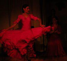 Flamenco Dancer Red Spining by deedeeoriginals