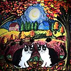 Two Cats and The Moon by Monica Engeler