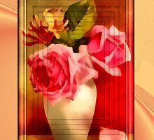 rose vase birthday card by cynthiab