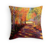 Aspen Light on the Road Throw Pillow