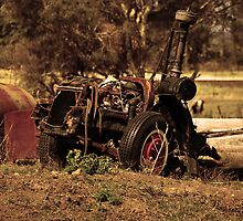 Broken Tractor - Sepia by Justin Showell
