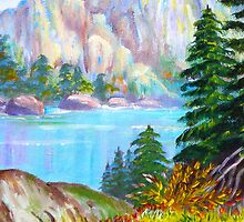 A WINTER Scenic View..  Lake by the Mountain...painting by my mom by kellimays
