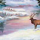 Moose by the water in the Mountains by kellimays