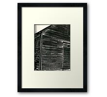 Barn with snow on it Framed Print