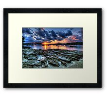 Sunset On The Rocks - Paradise Beach, Sydney  The HDR Experience Framed Print