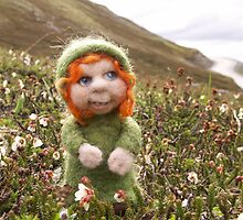 Tiny Needle Felted Wool Doll by feltalive