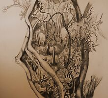 Landscape Study in Pencil.  Into the Thicket by Lozzar Flowers & Art
