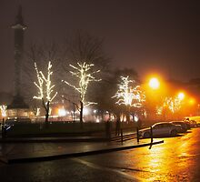 Christmas lights, St. Andrews Square, Edinburgh, Scotland by Michael Marten