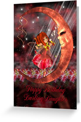 Fairy On Moon Birthday Card by Moonlake