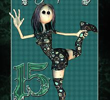 Rock Chick 14th Birthday Card With Rag Doll Rocker by Moonlake