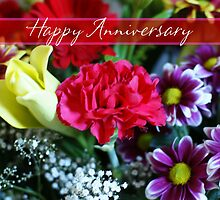 Anniversary Card With Beautiful Flowers by Moonlake