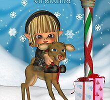 Happy Christmas Grandma Cute Elf Riding Reindeer by Moonlake