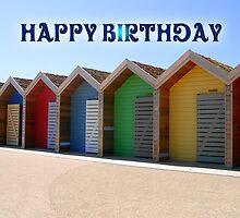 Happy Birthday Beach Huts With Lovely Colours by Moonlake