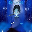 Niece, Deva Birthday Card Moonies Cutie Pie Singer Niece by Moonlake