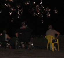 Disabled vet watching the fireworks by robinhensley