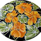 Nasturtiums - ceramic table top. by Elizabeth Moore Golding
