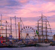 Tall Ships in the Sunset by PJSmyth