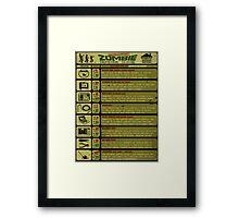 Zombie Defense Guide - Outbreak Emergency Poster! Framed Print