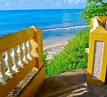 golden staircase to the Caribbean Sea by marcy413