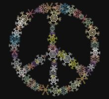 "Peace Sign ""Christmas Peace Sign"" Snowflakes Dark by HolidayT-Shirts"