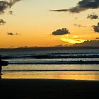 Surfing at Sunset, Croyde Bay by Michelle Lovegrove