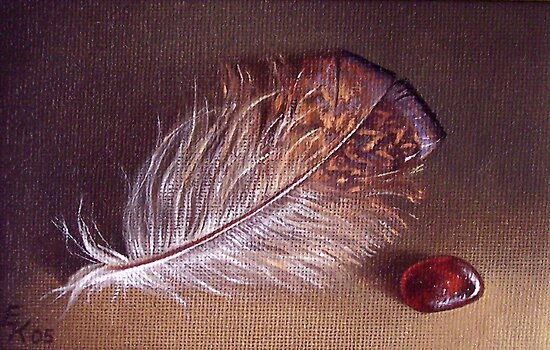 Still life with the feather #1 by Elena Kolotusha