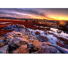 Willow Lake Rock Wall Sunset 1 Photographic Print