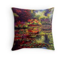 The Colors on Monet's Pond Throw Pillow