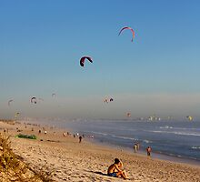 Beach scene with kites near Capetown, South Africa by solwalkling