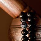 Singing Bowl and Mala in Color by Edward Myers