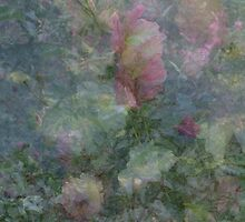 Composition With Ghosted, Abstracted Roses in Subtle Shades of Pink, Green and Yellow by Ivana Redwine