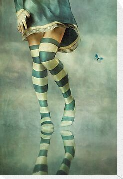 Lovely Girl with Striped Socks by AnaCBStudio
