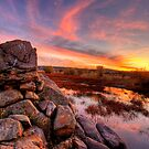 Rock Wall Sunset  by Bob Larson