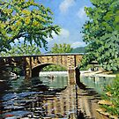 "Landscape Painting - Fishing Bennett Springs - 24"" x 24"" Acrylic by Daniel Fishback"