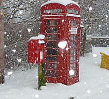 Red Telephone Box. Winter. England. by David Dutton