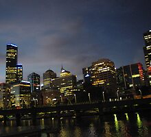 Night Time Sky in Melbourne From the Yarra River by SAPhotography