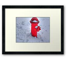 Fireplug in the snow Framed Print