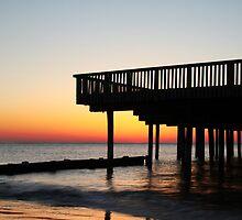 Buckroe Beach Pier At Sunrise by Amy Jackson