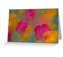 A Soft Blend of Flax and Poppies Greeting Card